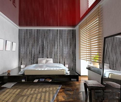 Установка натяжного потолка в спальне в Дно